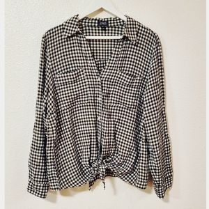 Jones New York Gingham Plaid Button Down Shirt